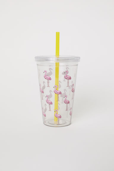 Plastic mug with a straw - Pink/Flamingos - Home All | H&M CN