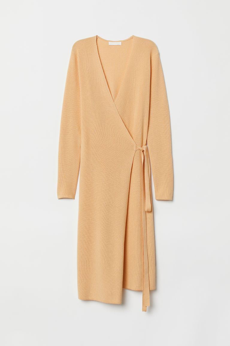 Ribbed wrap dress - Yellow - Ladies | H&M CN
