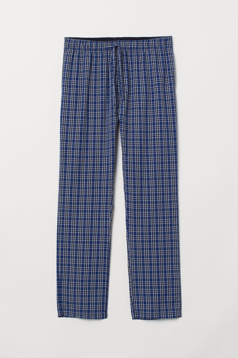 Pyjama bottoms - Dark blue/Black checked - Men | H&M