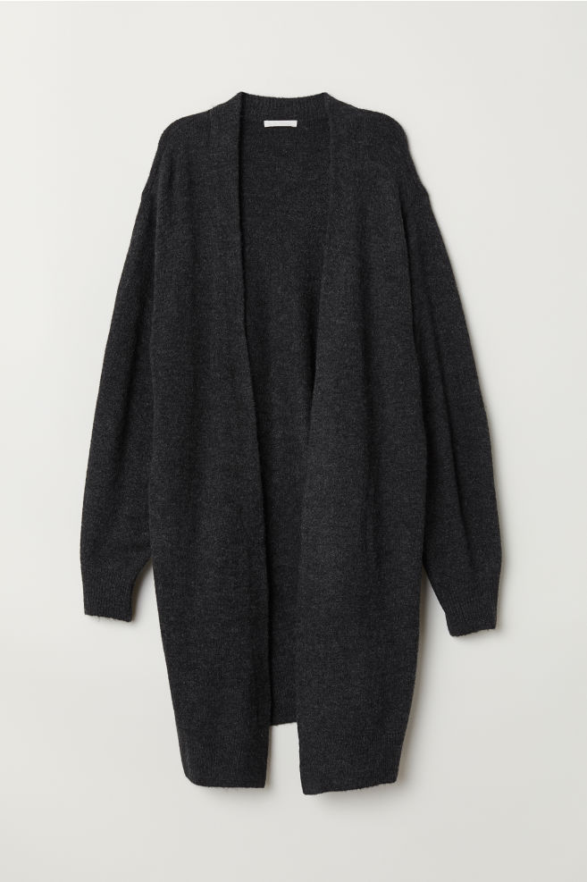 77e9ea79ef ... Long Cardigan - Dark gray melange - Ladies