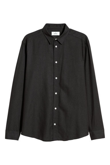Raw silk shirt - Black - Men | H&M