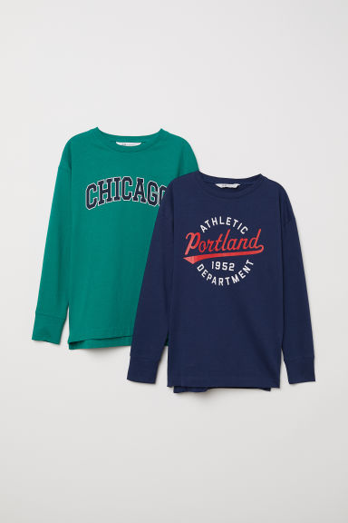 2-pack jersey tops - Dark blue/Dark green - Kids | H&M