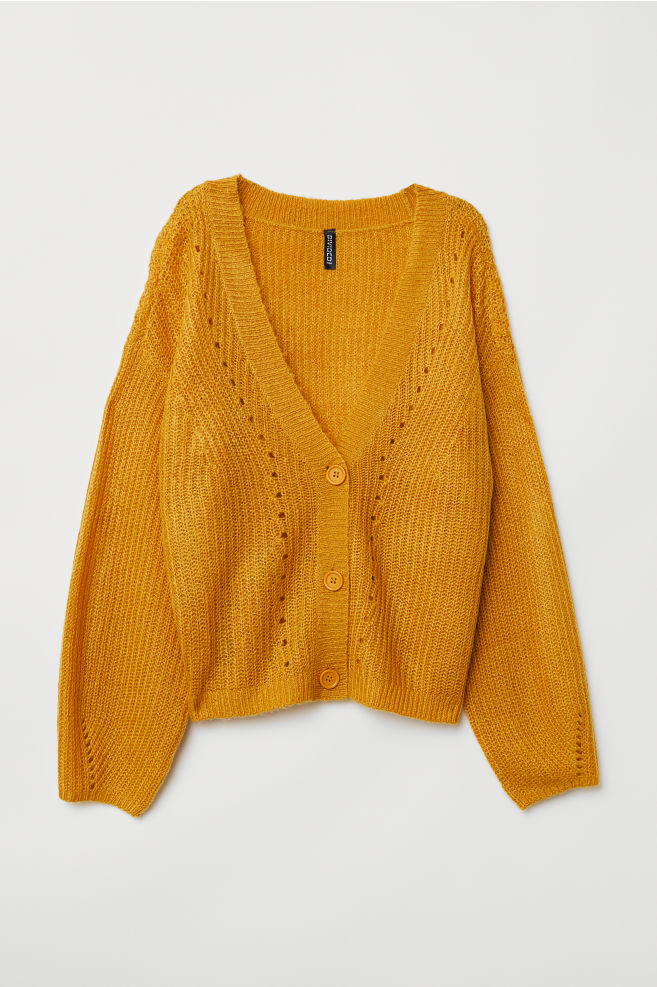 0d8d4deb3 V-neck Cardigan - Mustard yellow - Ladies
