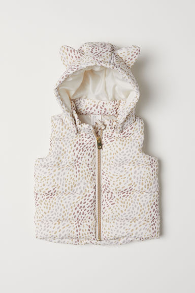 Padded gilet - Powder beige/Patterned - Kids | H&M CN