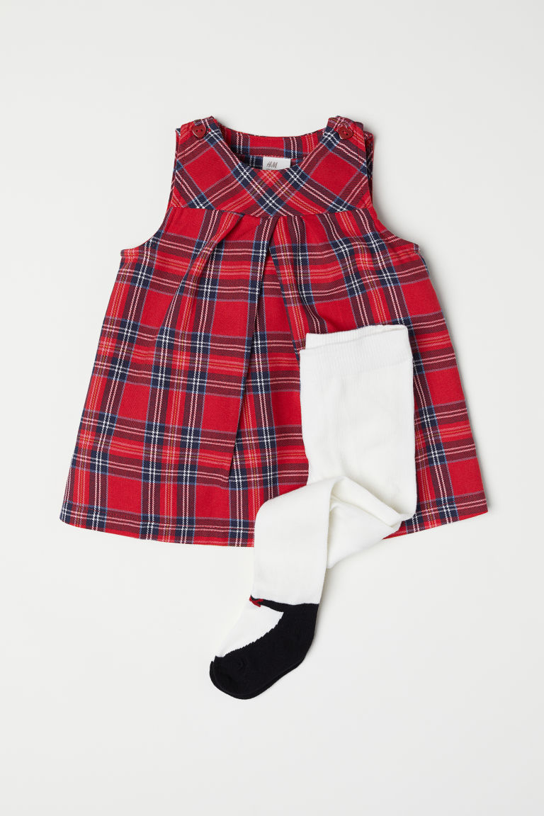 Dress and tights - Red/Checked -  | H&M