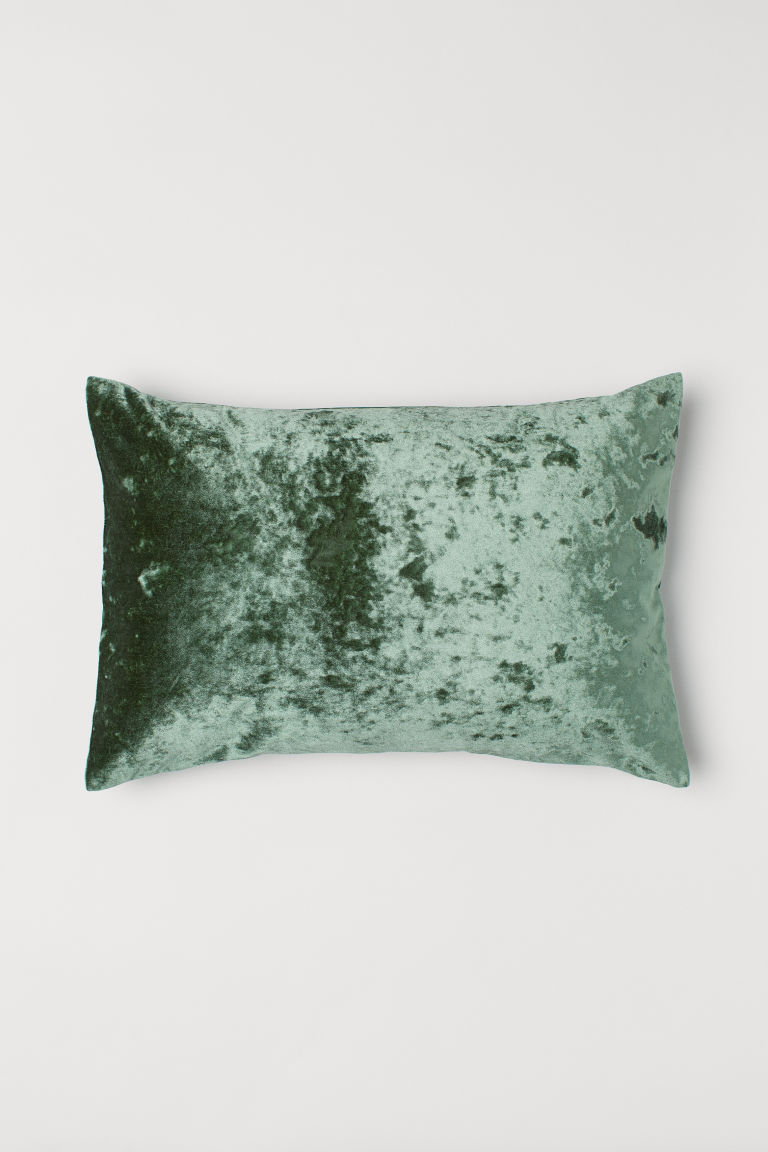 Velvet/canvas cushion cover - Green - Home All | H&M CN
