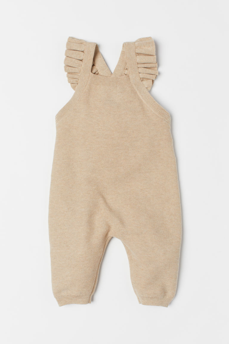 Knitted dungarees - Beige marl - Kids | H&M IE