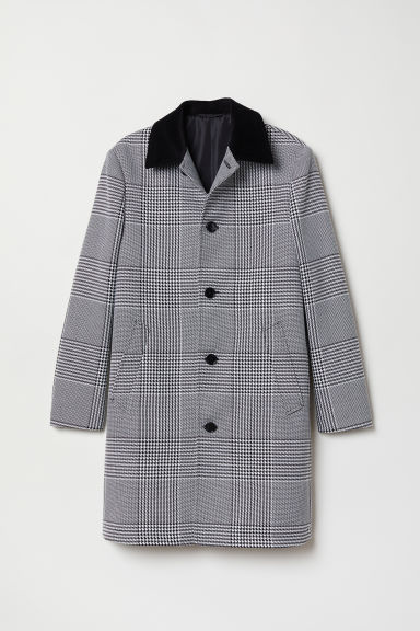 Checked coat - Black/Checked - Men | H&M CN