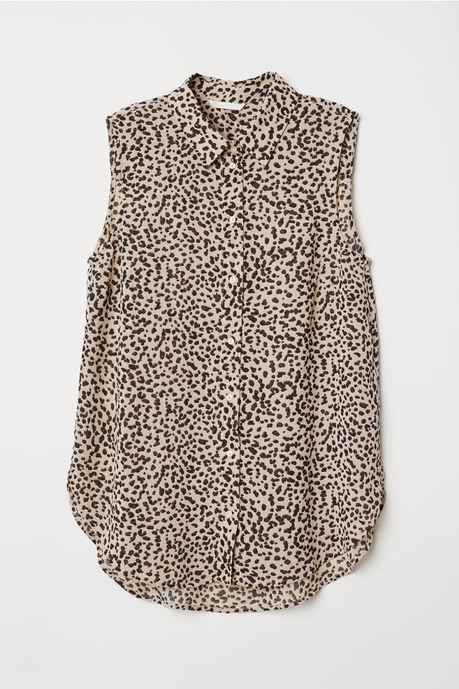 50abf4f8ab665c Sleeveless blouse - Beige Leopard print - Ladies