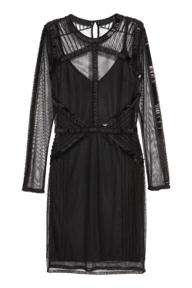 Abito in mesh con perline - Nero - DONNA | H&M IT