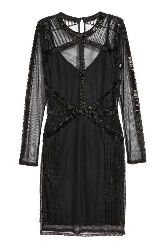 49056be098 Sukienka z siateczki - Czarny - ONA