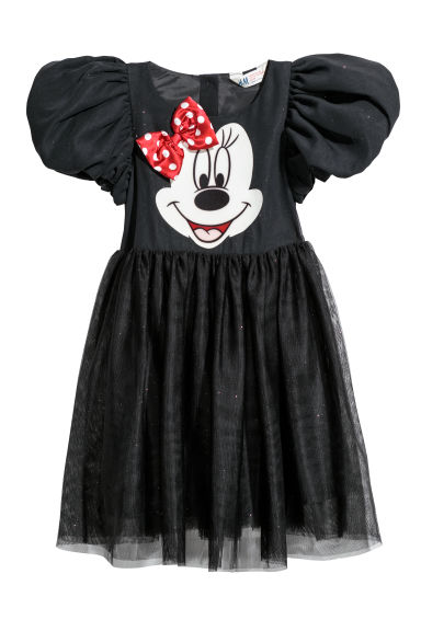 Dress with a tulle skirt - Black/Minnie Mouse - Kids | H&M CN