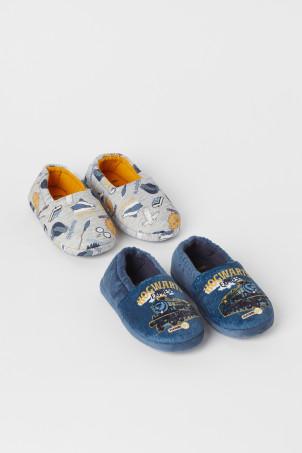 H&M 키즈 해리포터 2팩 슬리퍼 Soft Printed Slippers,Dark blue/gray melange