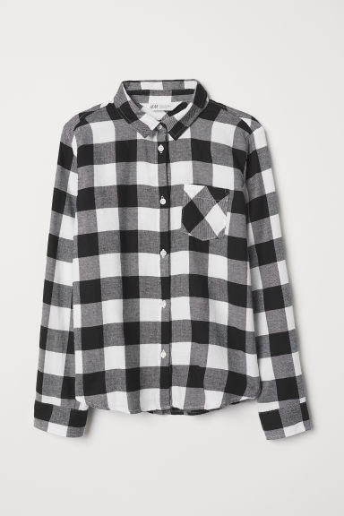 Cotton flannel shirt - White/Black checked - Kids | H&M CN