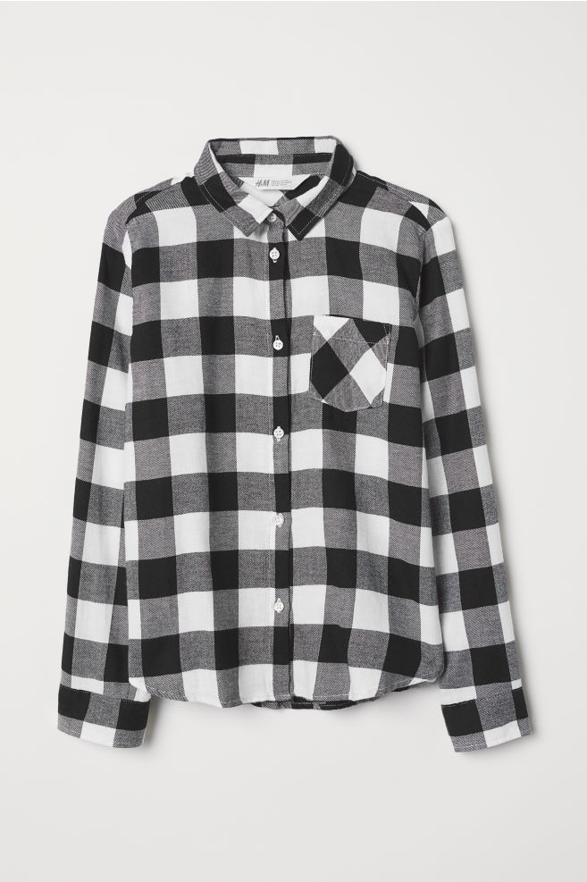 231352238e7679 Cotton Flannel Shirt - White/black checked - Kids | H&M ...