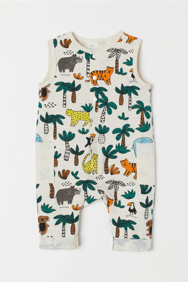 bc4c12097b3 Romper suit with pockets - Natural white Animals - Kids