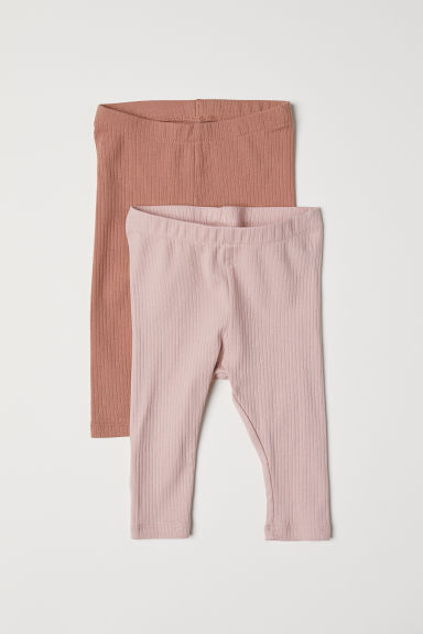 2-pack ribbed leggings - Dark beige/Powder pink - Kids | H&M CN