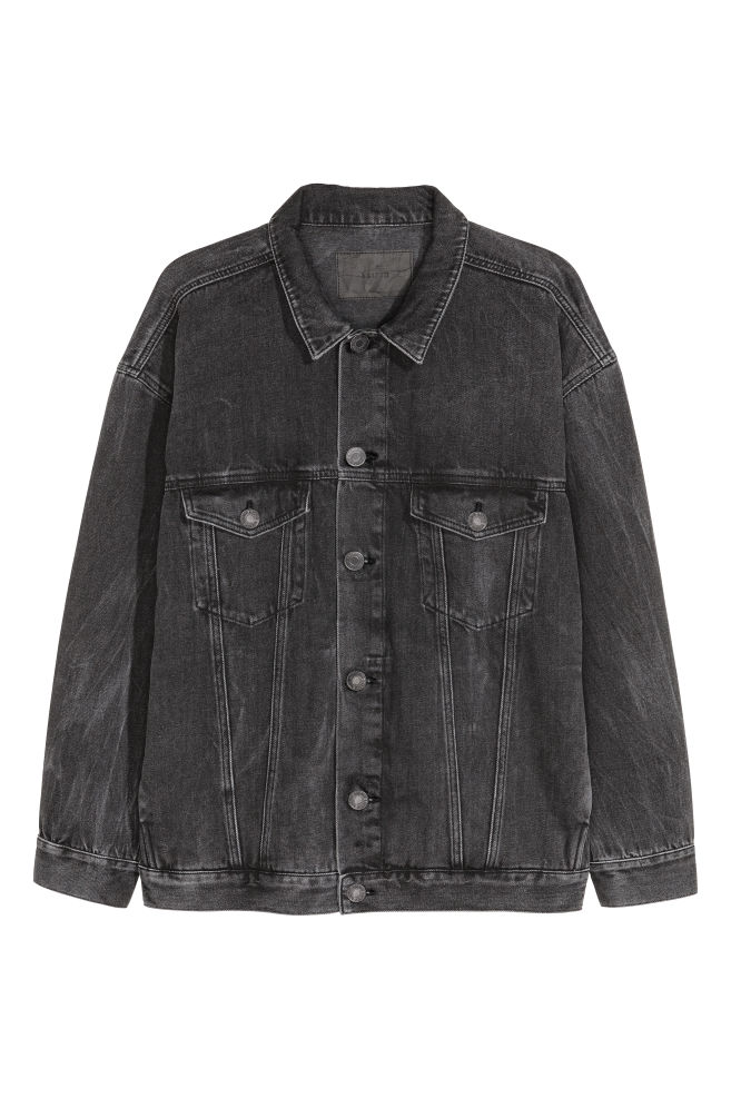 Oversized Denim Jacket Black Washed Men H M Gb