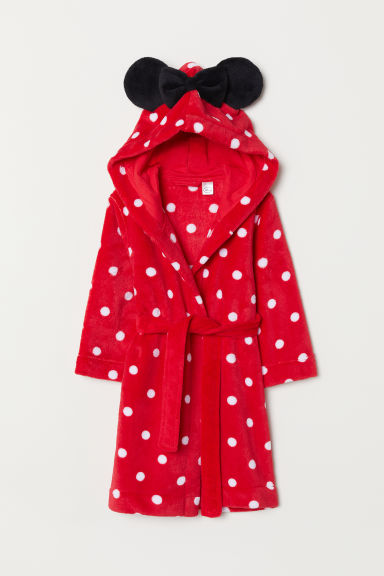 Fleece dressing gown - Red/Spotted - Kids | H&M