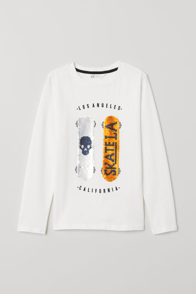 Top with a motif - White/Skateboards - Kids | H&M