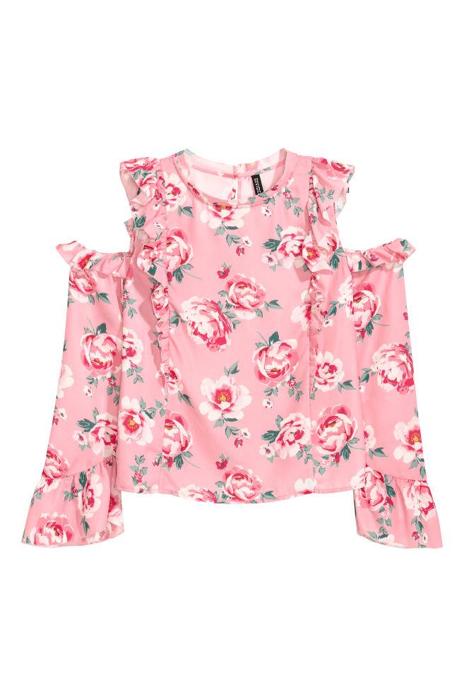 9548e6d0949 Cold shoulder blouse - Pink/Floral - | H&M ...