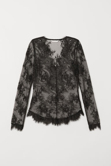 Fitted Lace Top - Black - Ladies | H&M US