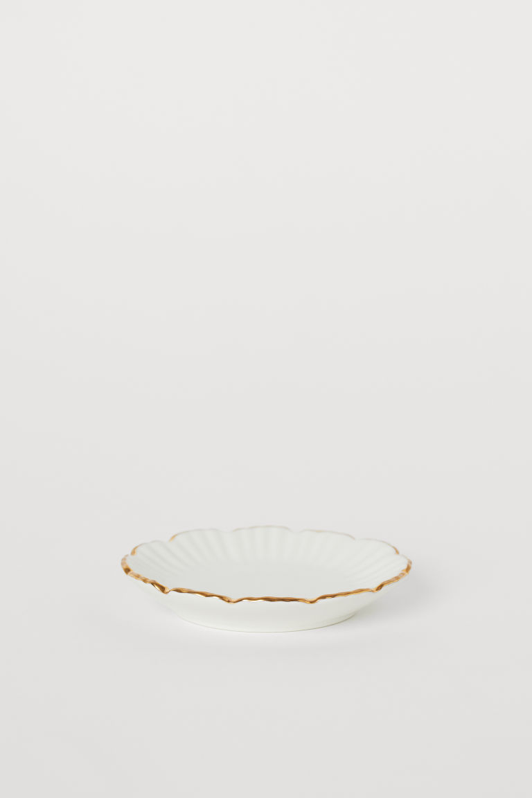 Mini assiette en porcelaine - Blanc/doré - Home All | H&M FR