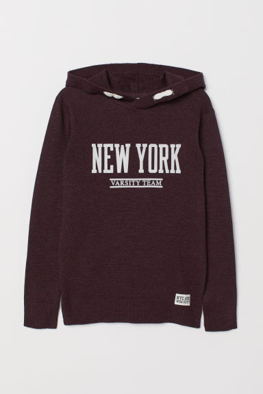 Fine-knit hooded jumper - Burgundy - Kids | H&M GB