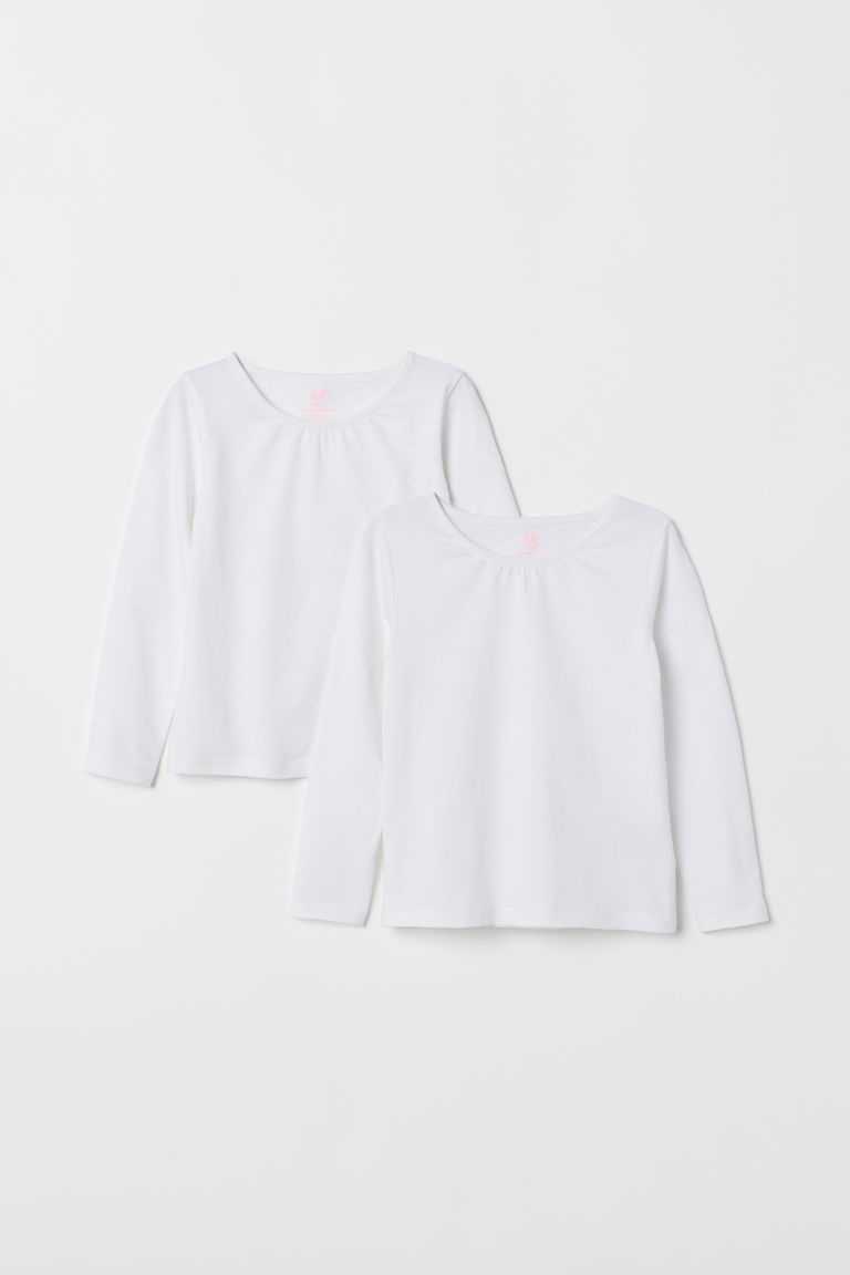 2-pack long-sleeved tops - White/White -  | H&M