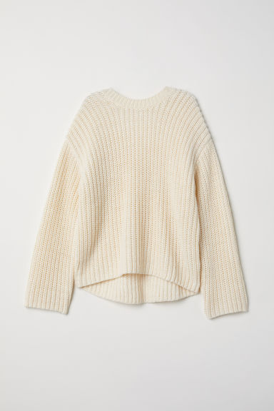 Knitted wool-blend jumper - Cream -  | H&M CN