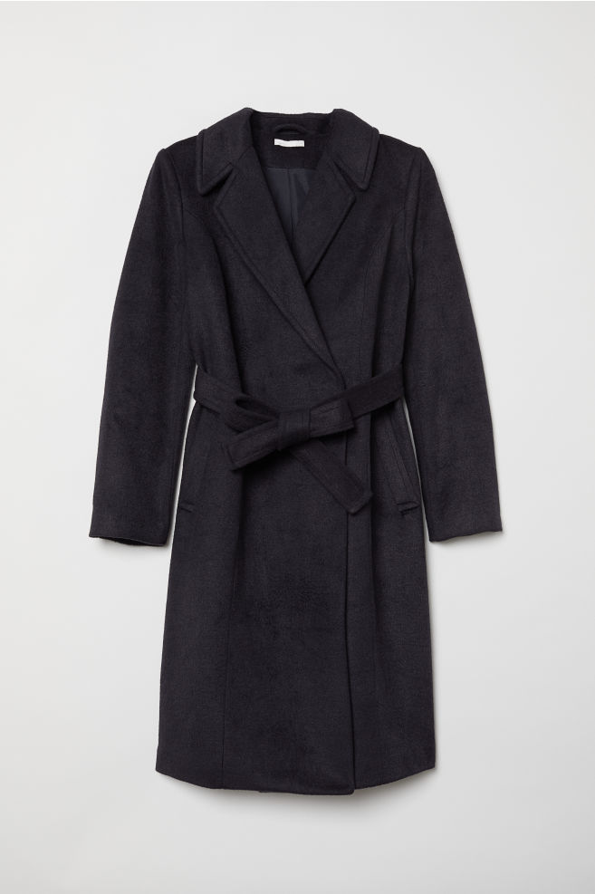a59edec8ac0b MAMA Coat with a tie belt - Dark blue - Ladies | H&M ...