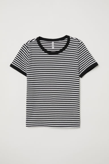 Short T-shirt - Black/White striped -  | H&M CN
