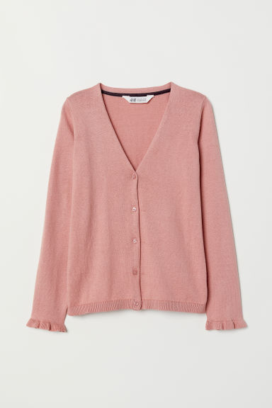 Knitted cotton cardigan - Dusky pink - Kids | H&M