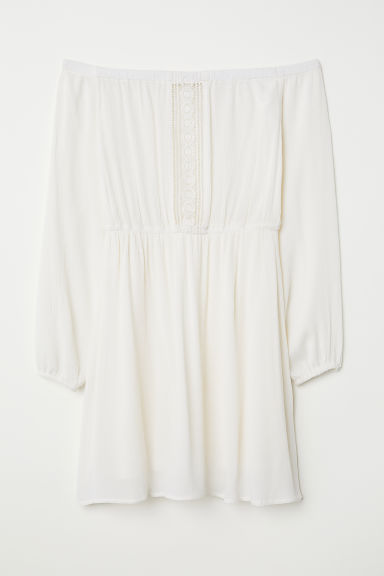 Off-the-shoulder dress - Natural white - Ladies | H&M CN
