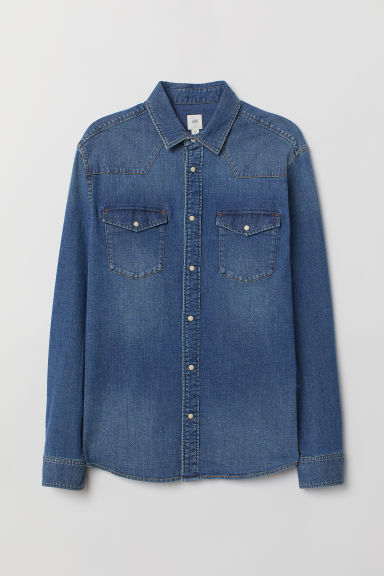 Denim Shirt - Dark denim blue - Men | H&M US