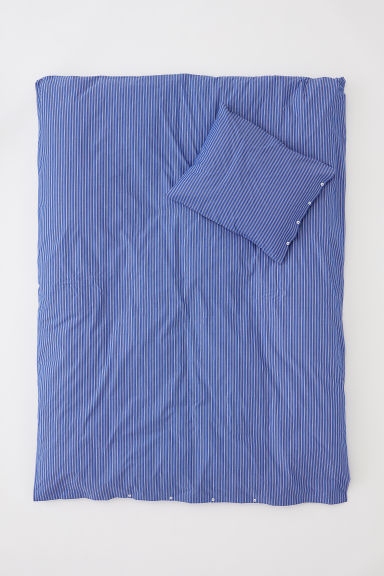 Cotton percale duvet cover set - Blue/White striped - Home All | H&M CN