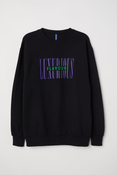 Sweatshirt with a motif - Black/Luxurious - Men | H&M CN
