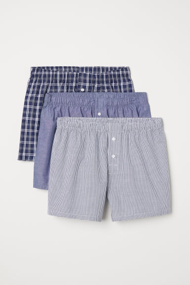 3-pack woven boxer shorts - Dark blue/Checked - Men | H&M CN