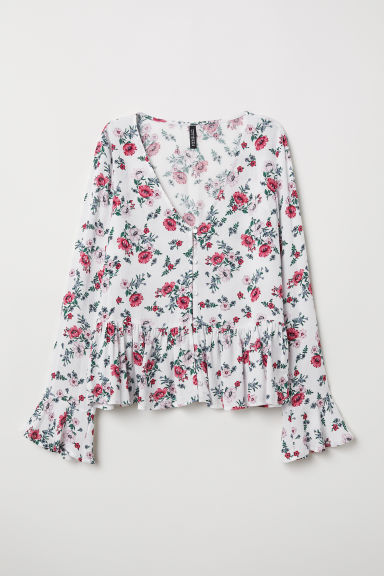 V-neck blouse with buttons - White/Floral - Ladies | H&M
