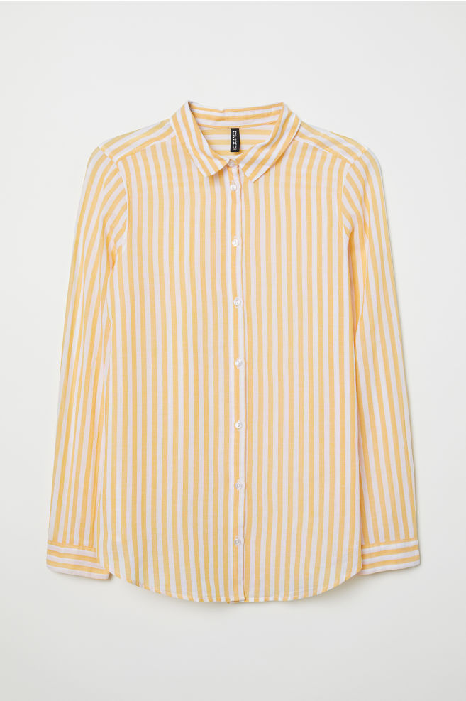 bf1ac130e5674 Cotton Shirt - Yellow white striped - Ladies
