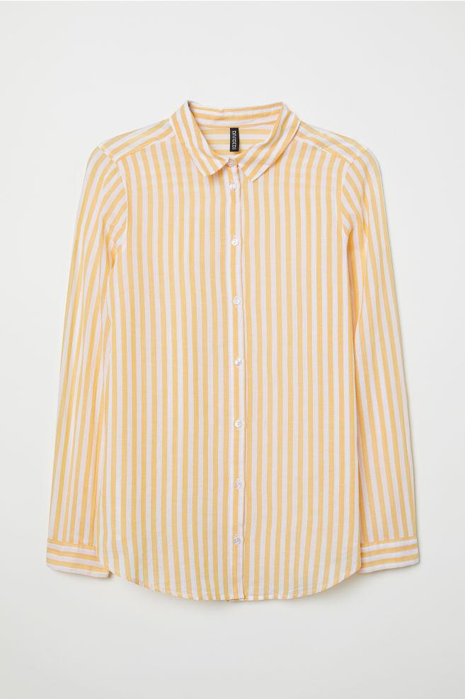04444070e542 Cotton shirt - Yellow White striped - Ladies