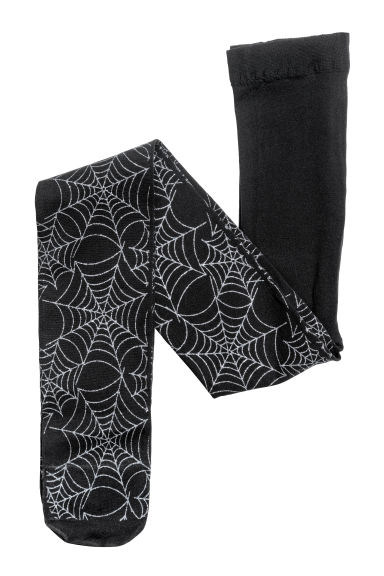 Thin tights - Black/Cobweb - Kids | H&M CN