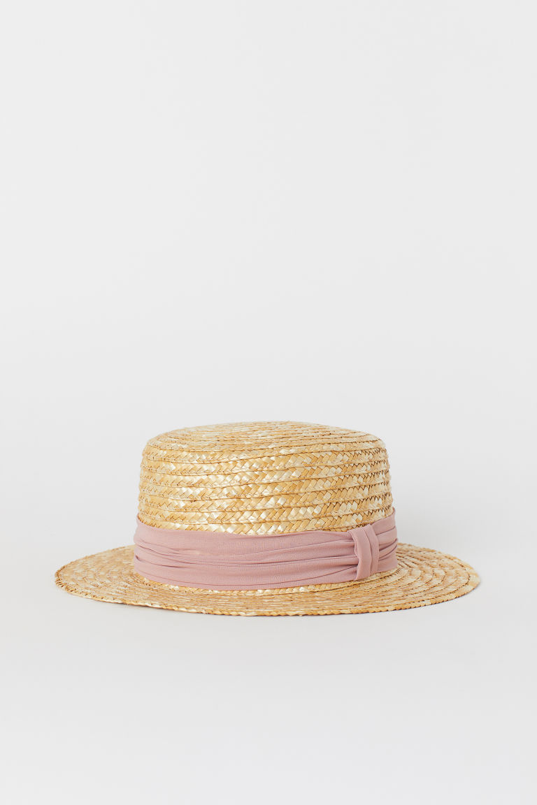 Straw hat - Light beige/Straw - Ladies | H&M GB