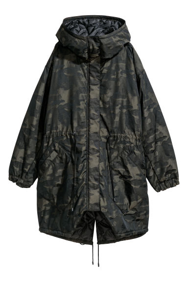 Padded parka - Dark green/Patterned -  | H&M
