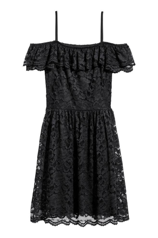 2ad9137ea69f Off shoulder-klänning i spets - Svart - | H&M ...