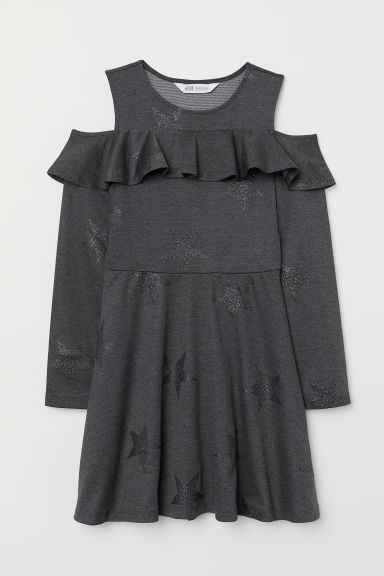 Cold shoulder dress - Dark grey/Stars - Kids | H&M