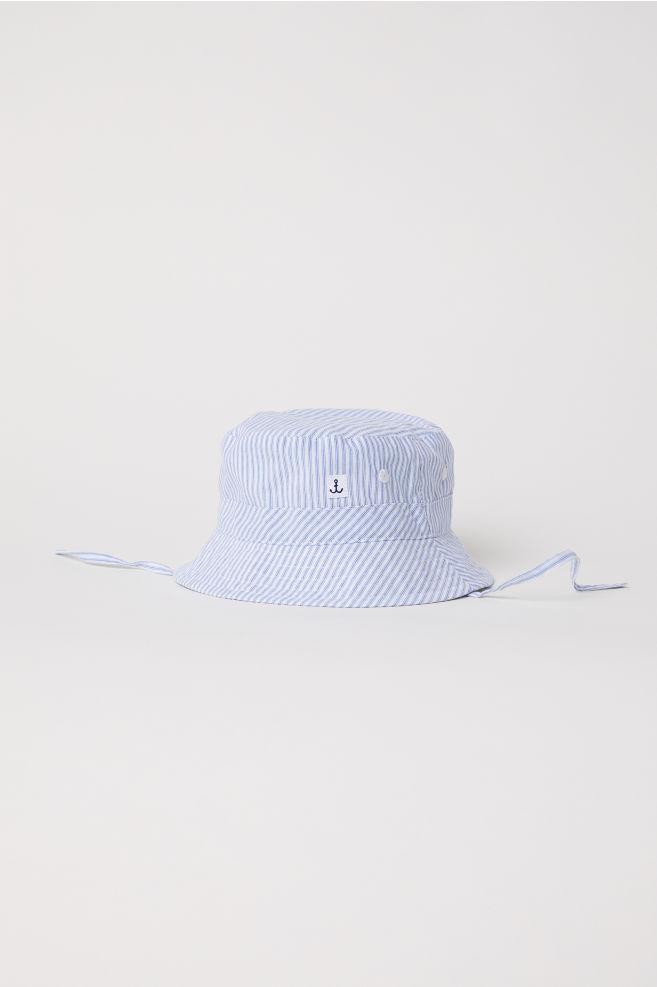 Gorro de pescador en algodón - Blanco Rayas azules - NIÑOS  d81976de5f1