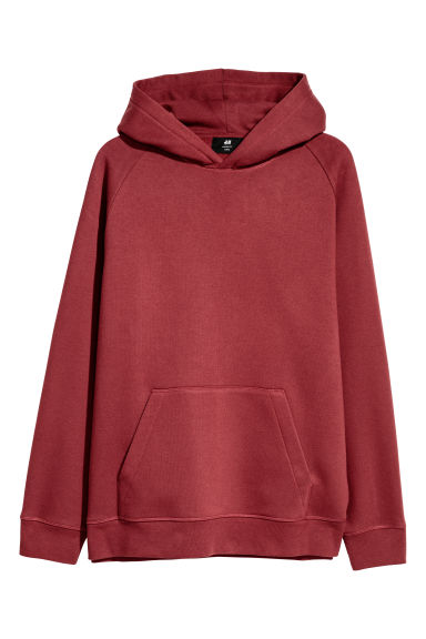 Hoodie - Loose fit - Donkerrood - HEREN | H&M BE