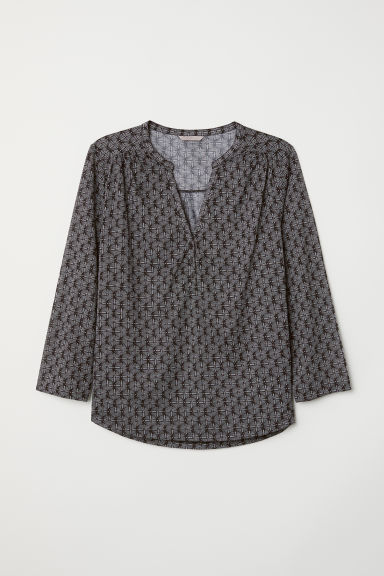 H&M+ V-neck top - Black/Patterned - Ladies | H&M
