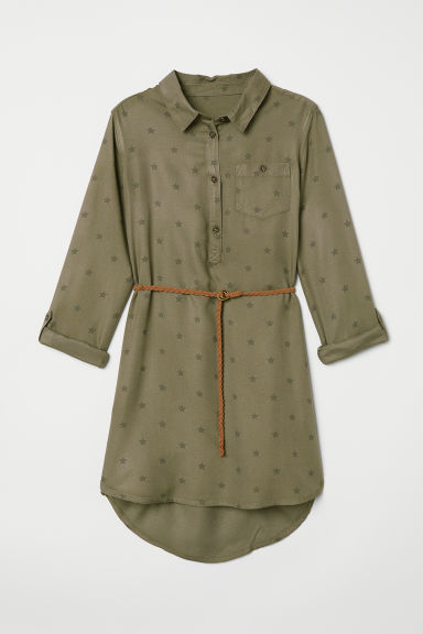 Shirt dress - Khaki green/Star-print - Kids | H&M CN